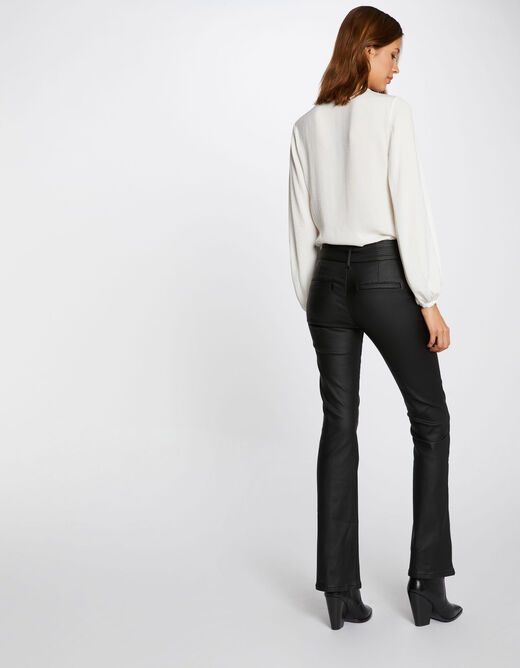 Flare trousers with wet effect and tabs black ladies'