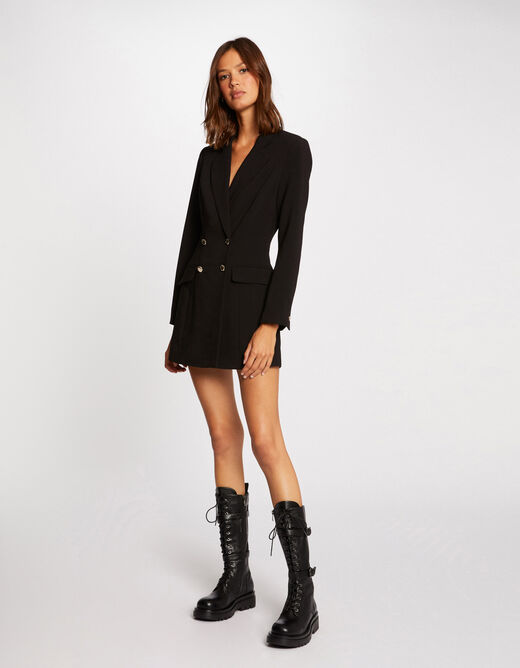 Straight playsuit with buttons black ladies'