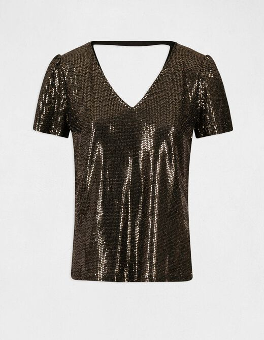 Short-sleeved t-shirt with back opening gold ladies'