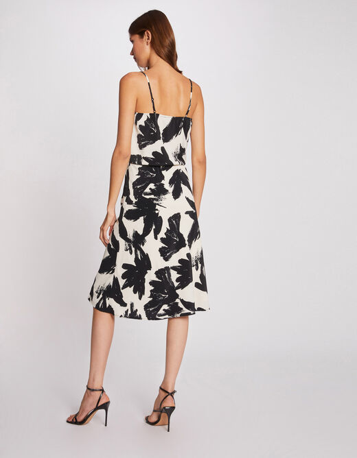 Straight skirt with abstract print ecru ladies'