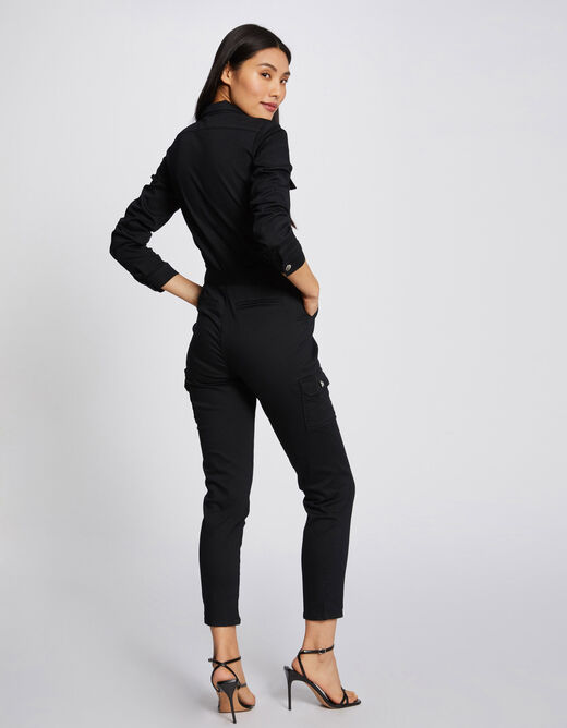 Fitted cropped belted jumpsuit black ladies'