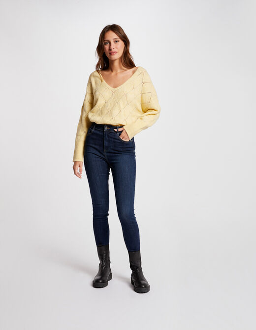 Jumper with loose long sleeves straw yellow ladies'