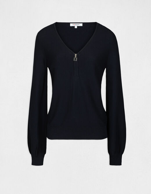 Long-sleeved jumper with zipped detail navy ladies'