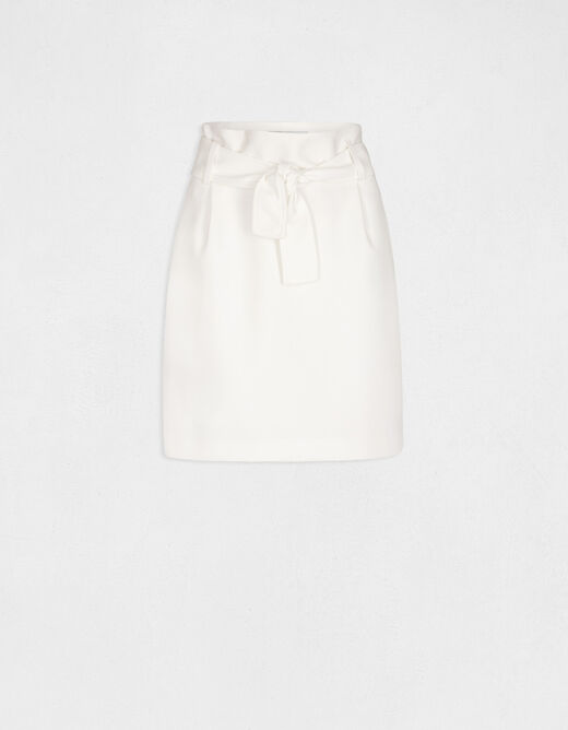 High-waisted belted straight skirt ecru ladies'