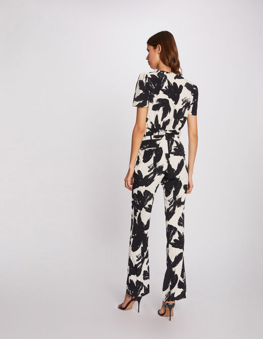 Straight trousers with abstract print ecru ladies'