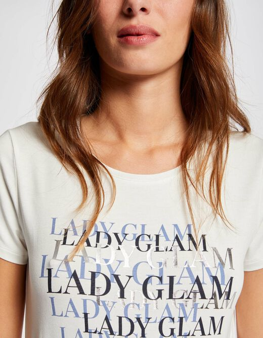 Short-sleeved t-shirt with message ecru ladies'
