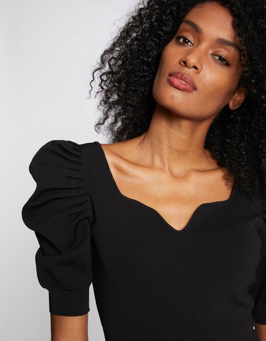 Fitted jumper dress with shirring black ladies'