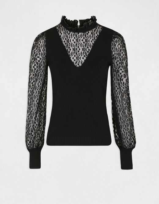 Long-sleeved jumper with high collar black ladies'