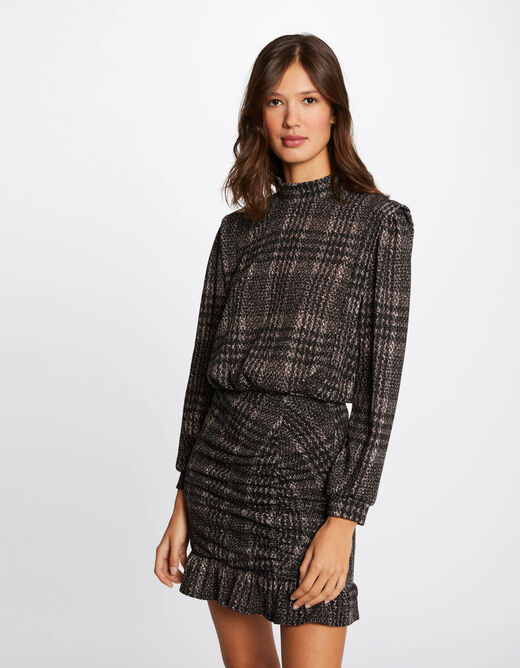 Long-sleeved checked t-shirt anthracite grey ladies'
