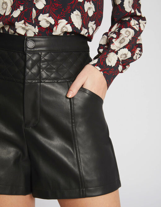 Loose shorts with quilted detail black ladies'