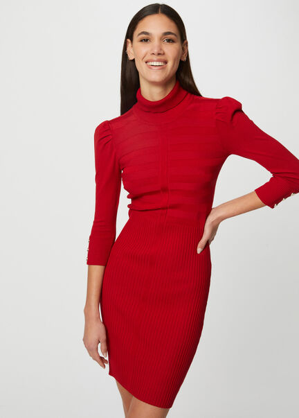Robe pull ajustee a col roule rouge femme