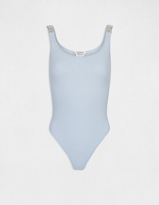 Body with wide straps and ornaments sky blue ladies'