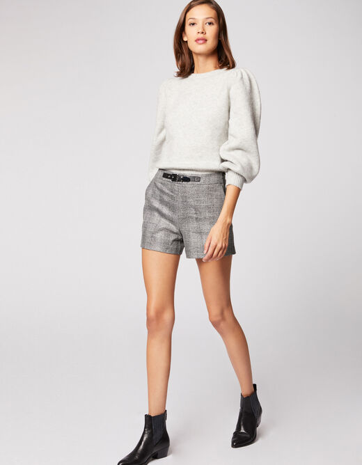 Checked standard waisted straight shorts silver ladies'