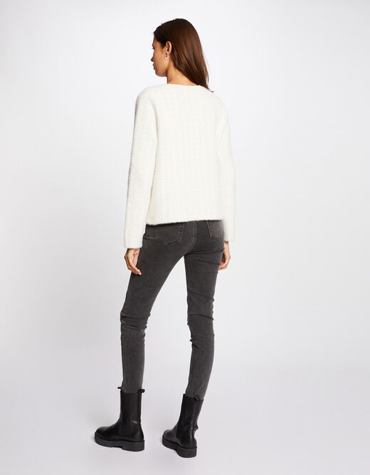 Buttoned long-sleeved cardigan ivory ladies'