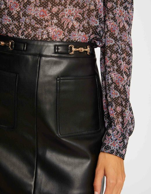 High-waisted A-line skirt with ornaments black ladies'