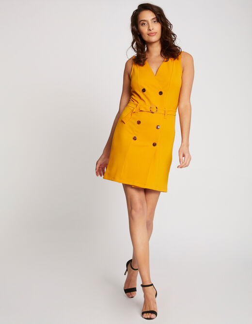 Straight dress with wrap-over effect yellow ladies'