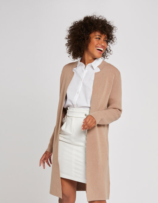 Straight jacket with notched collar caramel ladies'