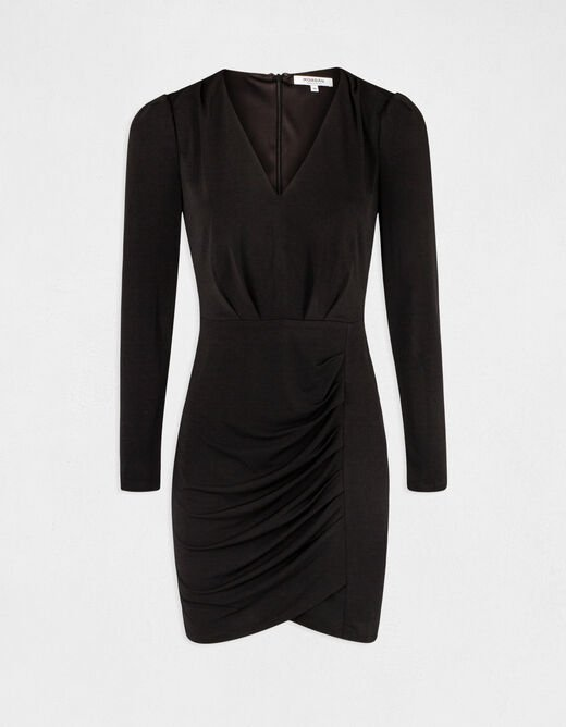 Fitted dress with draped effect black ladies'
