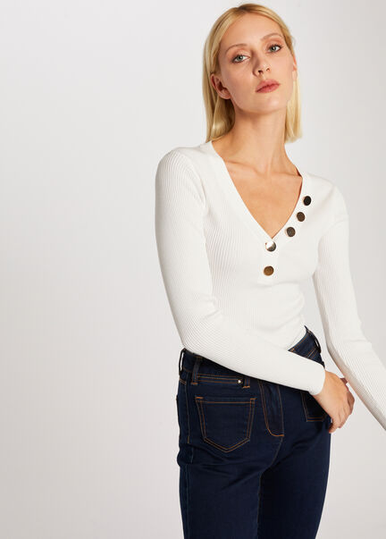 Pull manches longues boutons ecru femme