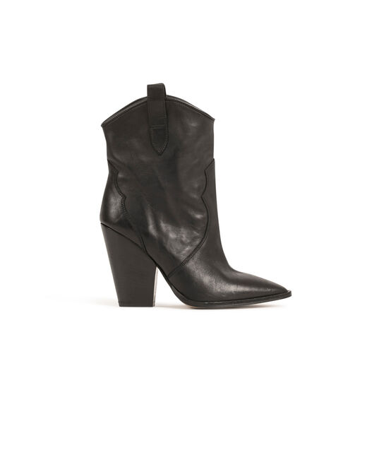 Western style boots with heels black ladies'