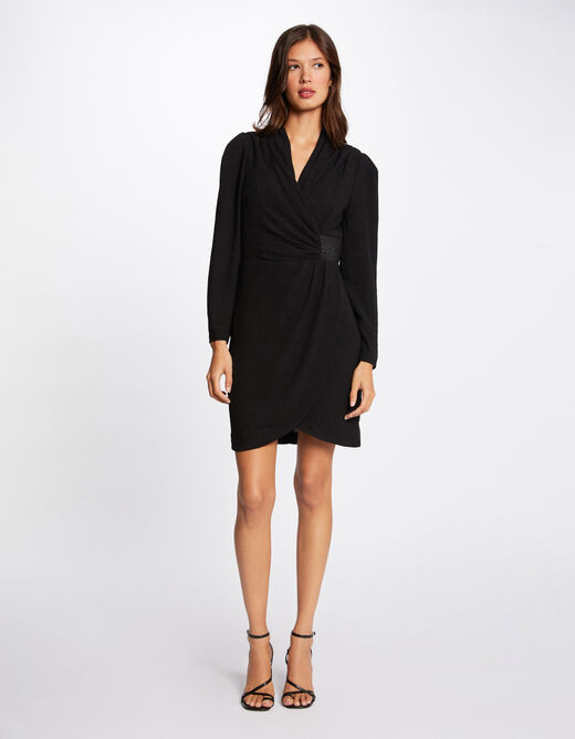 Straight dress with draped effect black ladies'