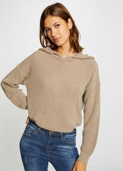 Pull manches longues a capuche taupe femme