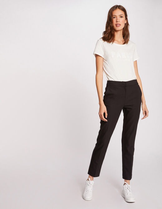 Straight cropped trousers with darts black ladies'