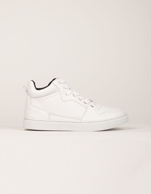 High top trainers with metallised effect white ladies'
