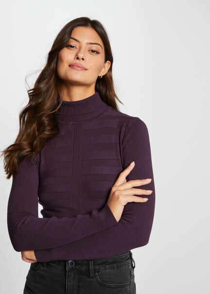 Pull manches longues col roule framboise femme
