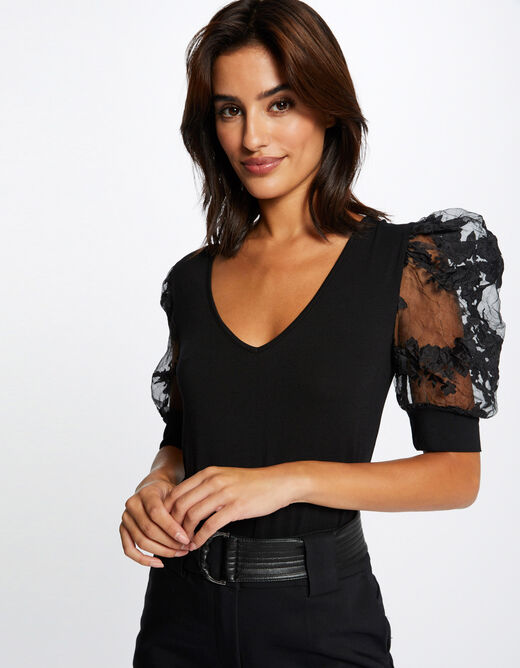 T-shirt with puff short sleeves black ladies'