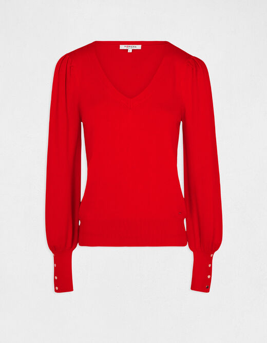 Long-sleeved jumper with V-neck red ladies'