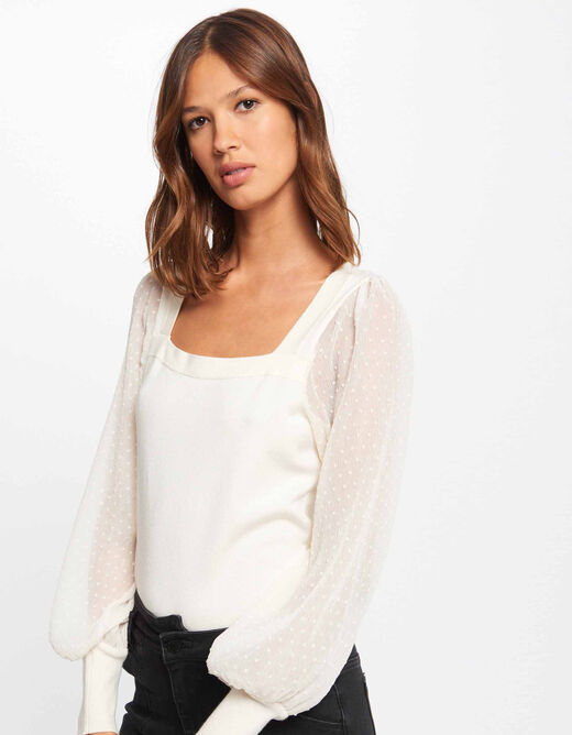 Long-sleeved jumper with dobby spot ivory ladies'
