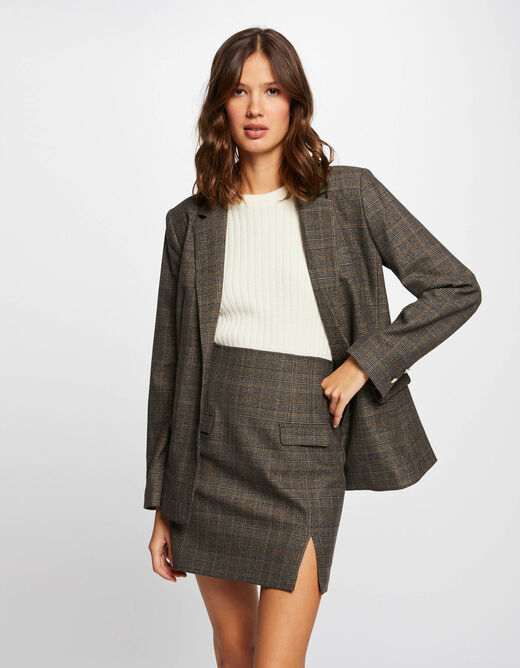 Checked high-waisted straight skirt chestnut brown ladies'