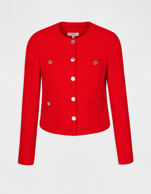 Straight buttoned jacket with round neck red ladies'