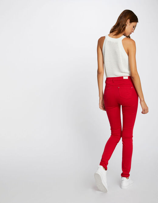 Slim trousers with zipped details red ladies'