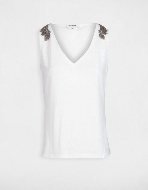 Short-sleeved t-shirt with chain details ecru ladies'