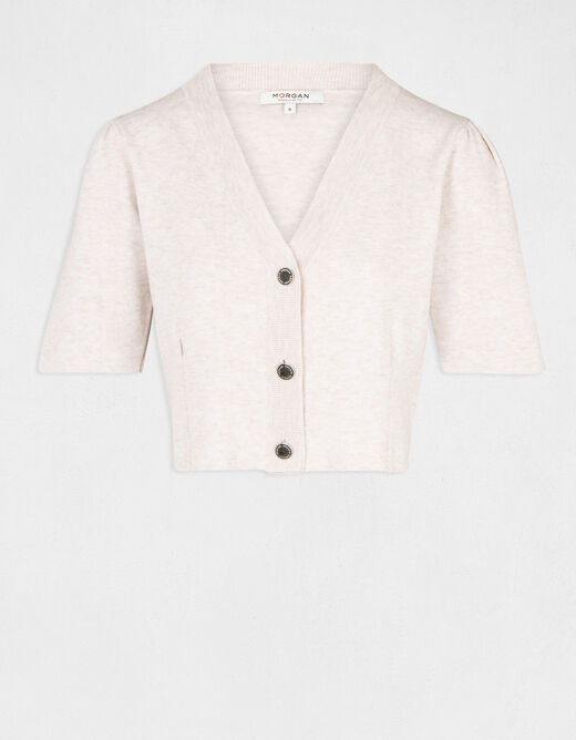 Buttoned short-sleeved cardigan ivory ladies'
