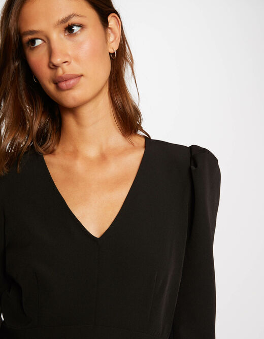 A-line dress with puff long sleeves black ladies'