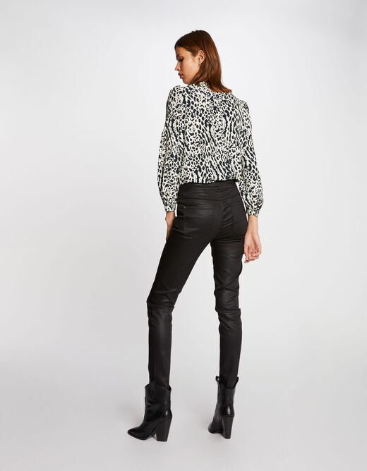 Skinny trousers with wet effect black ladies'