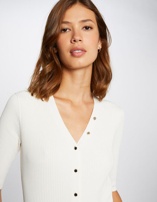 Buttoned short-sleeved jumper ivory ladies'
