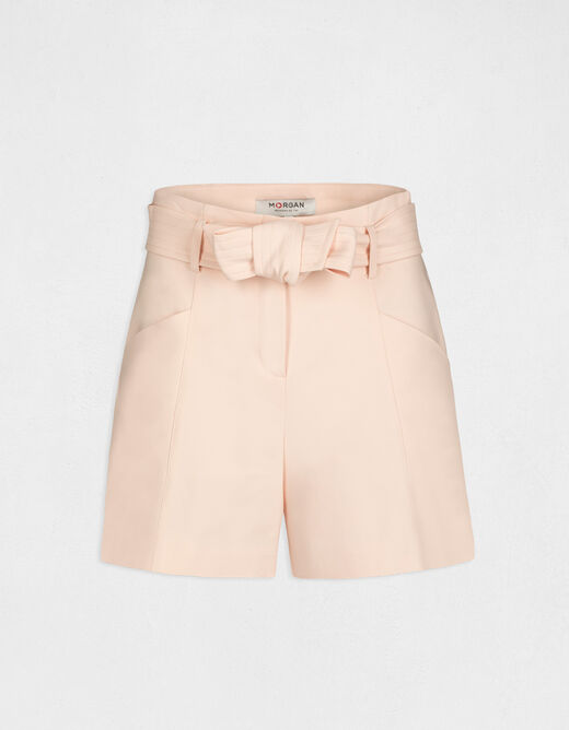 High-waisted straight belted shorts pale pink ladies'