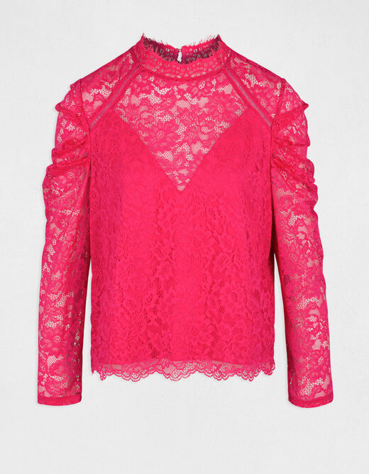 3/4-length sleeved t-shirt with lace fuchsia ladies'