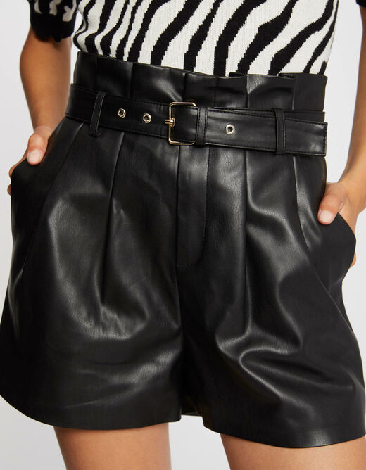 High-waisted straight belted shorts black ladies'