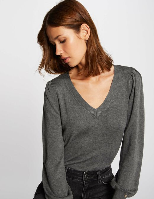 Long-sleeved jumper with V-neck anthracite grey ladies'