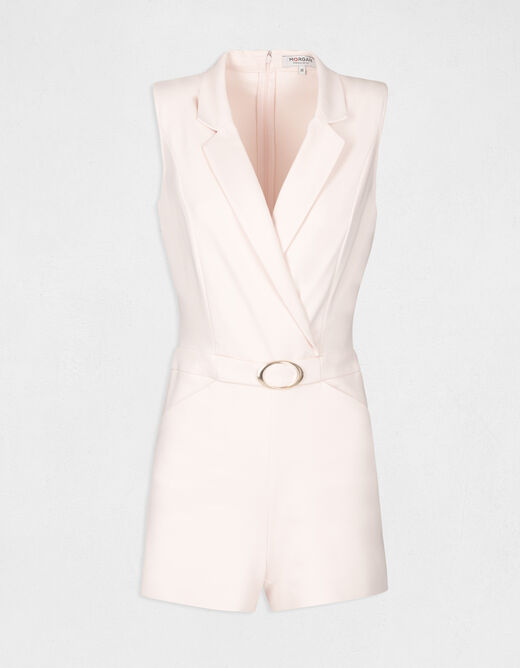 Fitted playsuit with buckle pale pink ladies'