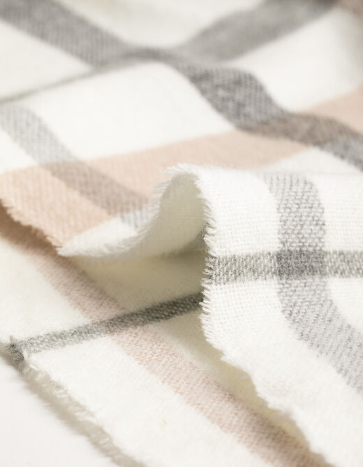 3/4-length sleeved checked cape beige ladies'