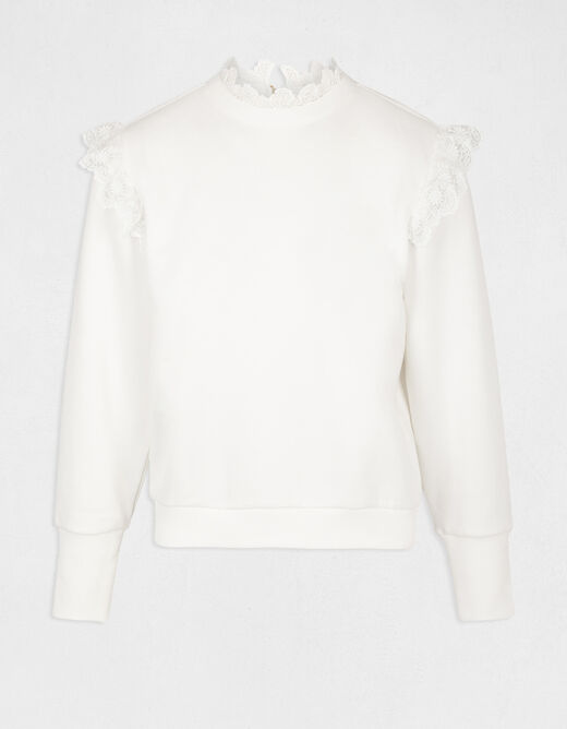 Long-sleeved t-shirt with lace ecru ladies'