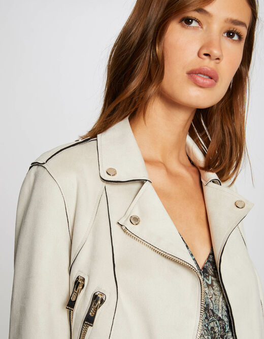 Straight jacket with suede effect ivory ladies'