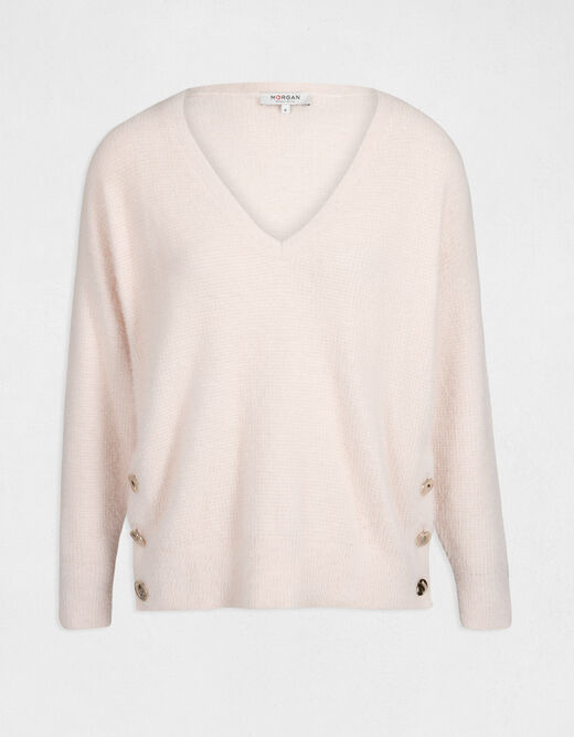 Long-sleeved jumper with buttons pale pink ladies'