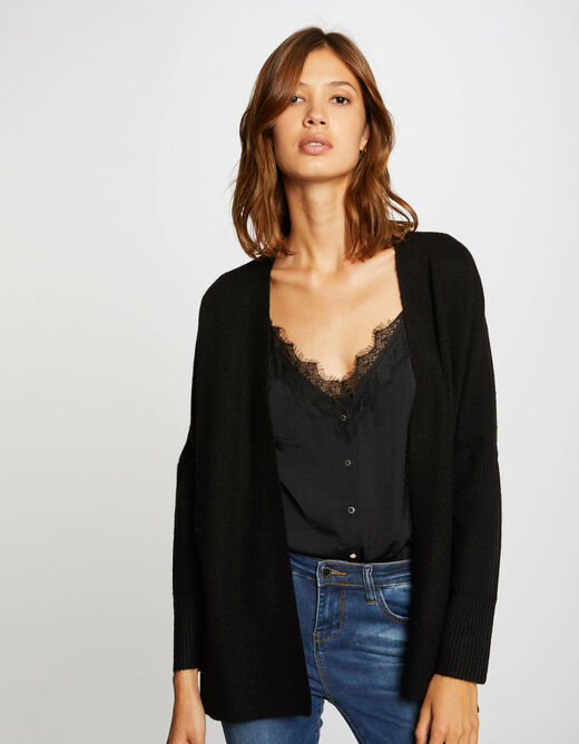 Long-sleeved cardigan with open collar black ladies'